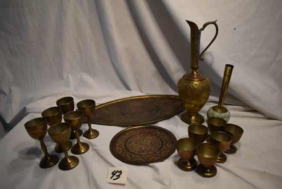 Brass Coated Fancy Trays; 6 Sip Cups; 6 Drink Cups; Candle Holder.