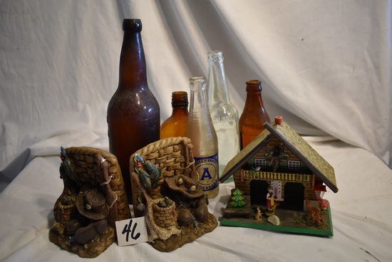 Old Medical Bottles, (3); Hillsboro Brewery Bottle; Weather House.