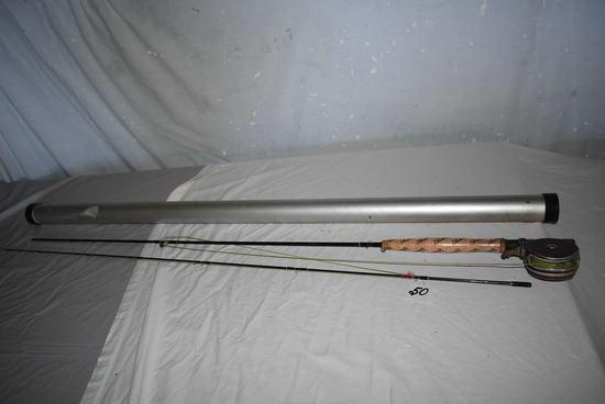Fly Rod, Shakespeare, Oren Mastic Fly Reel, Aluminum Case.