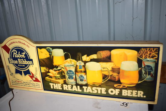 "Rectangular Pabst Blue Ribbon Sign, 12""h X 29""w, (works)"