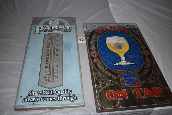 "Pbr Mirror ""on Tap"", 20 X 12; Pbr Since 1844 Thermometer, 20"" X 9""."