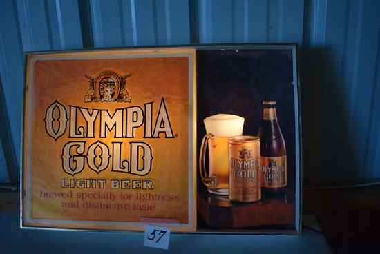 "Olympia Light Sign, 13 1/2"" X 20 1/2"", {works}."