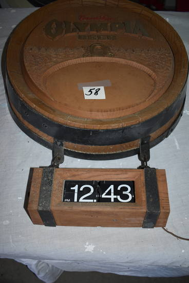 "Olympia Barrel Electrical Clock, 16 1/2"" (not Tested)"