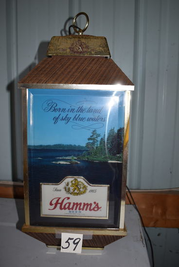 "Hamm's Hanging Beer Light, 23""h, (needs Bulb)."
