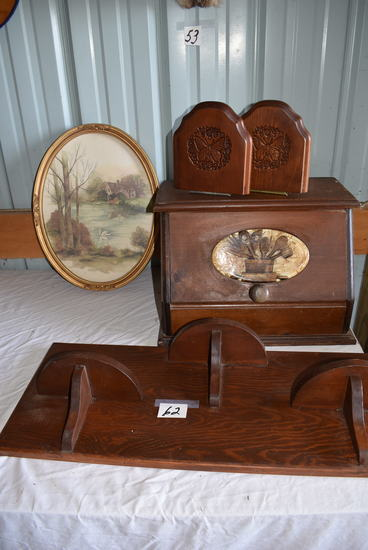 Wood Bread Box; Novelty Shelf (3); Book Ends; Oval English Print.