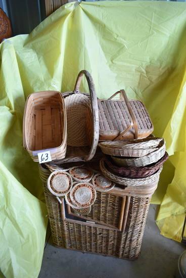 Assortment Of Baskets, Plates, Clothes Basket, Etc.