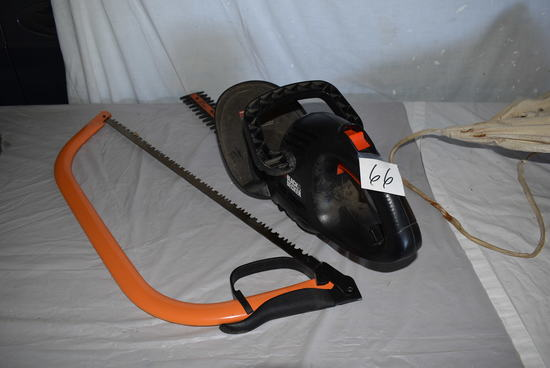 "Black And Decker 16"" Elect, Hedge Trimmer; Truper Limb Saw."