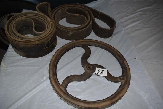"""15"""" Metal Pulley, 3/4 """" Hole; 80""""l X 4 1/2"""" W Belt; 68""""l X 3"""" W Belt"""