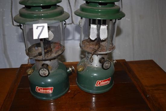 """Pair Of Coleman Gas Camping Lanterns; 19""""h."""
