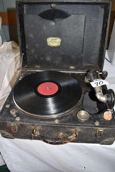 Silvertone Portrola Record Player, Runs, Tabletop.