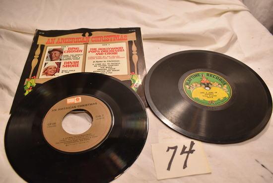 Pair Of Vinyl 45 Rpm Records.
