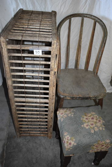"Wood Chicken Crate, 11""h X36""w, 23""d; Wood Bow Back Chair; Foot Stool."