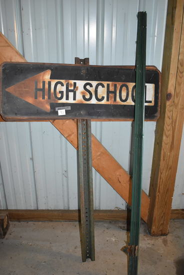 "Old High School Directional Sign (double) 12""h X24""w; 4 Steel Garden Post"