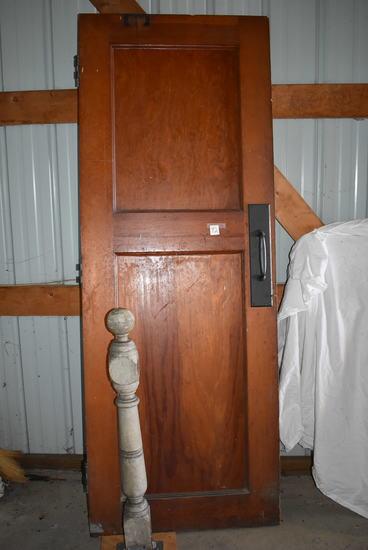 "Oak Panel Door W/brass Handle, 81""h X 30""w; Interior Railing Pillar 37:h"