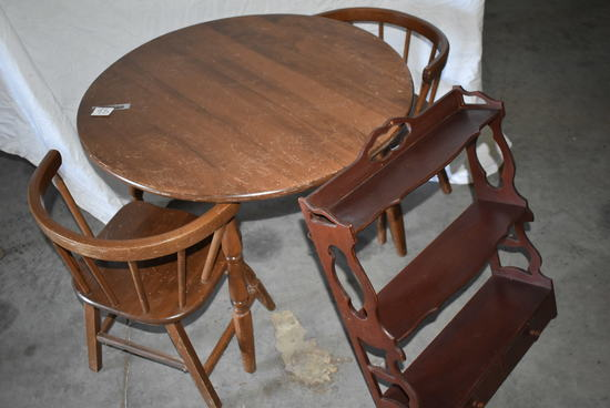 Round Wood Child Table W/ 2 Chairs; Wall Shelf.