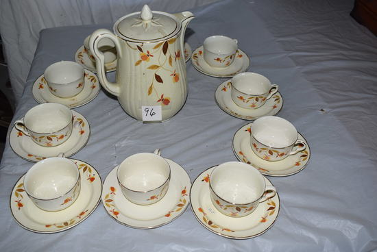 Halls Coffee Server W/10 Cups And Saucers.
