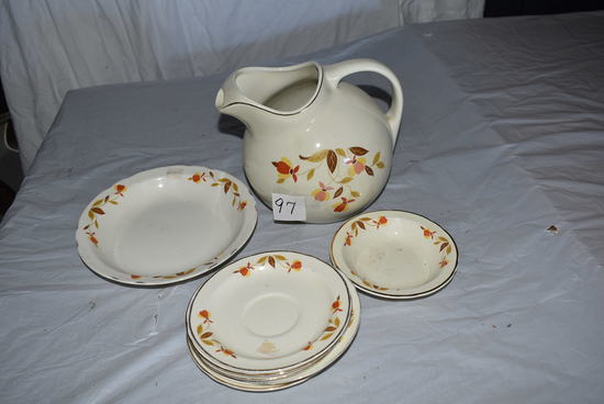 "Halls Water Pitcher W/6 Coffee Cup Plates, Cereal Bowl, 8""serving Bowl."