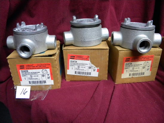 "Three Out Let Boxees W/covers 3/4"", Guax Guade, Elecrical Construction Equ"