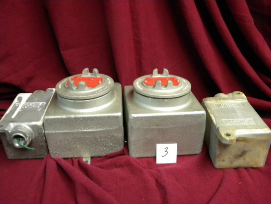 "Outlet Box Hazardous Location, Cat # 6ue, (2) Small Boxes, 5"" X3"".elecrical"