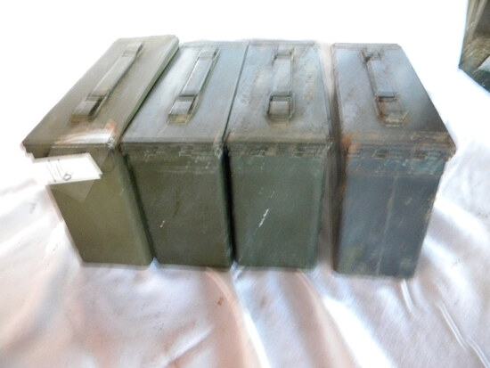 Four (4) Empty Steel Shell Containers, 7.62mm. M82
