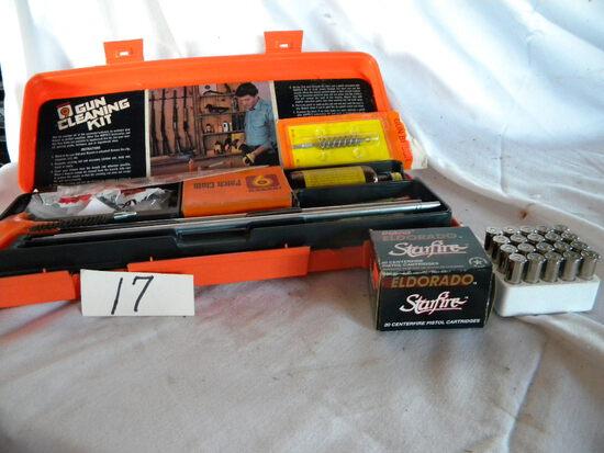 Gun Cleaning Kit; Elderado Stars 30 Cal. Pistol Ammo (20).
