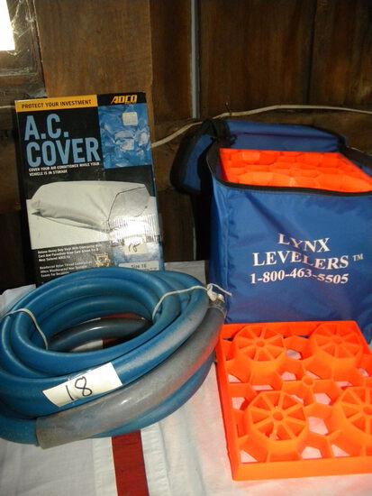 Camper Ac Cover; Heavy Potable Water Hose; 10 Plastic Jack Level Pads.
