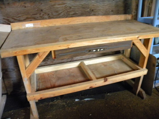 """Wood Tool Bench W/ Drawer. 3ft H X 5 Ftw X 24""""d"""