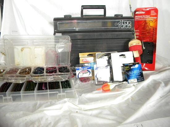"""Flambeau 7680 Tackle Box W/double Tray, Contents, 15"""" X12"""". Reel Etc."""