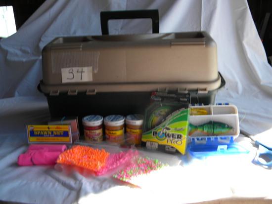"Plano Tackle Box W/contents. 11 X 7 X 9""h; Salmon Bait, Line, Lures Etc."
