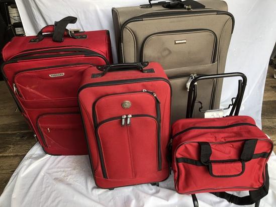 Advantage-brown suit Case, 3 red suitcases w cart