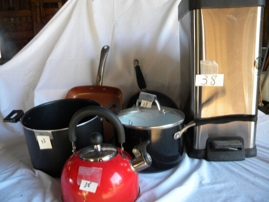 Kitchen=pots, Frying Pan, Kettle; Waste Canw/opener Etc.