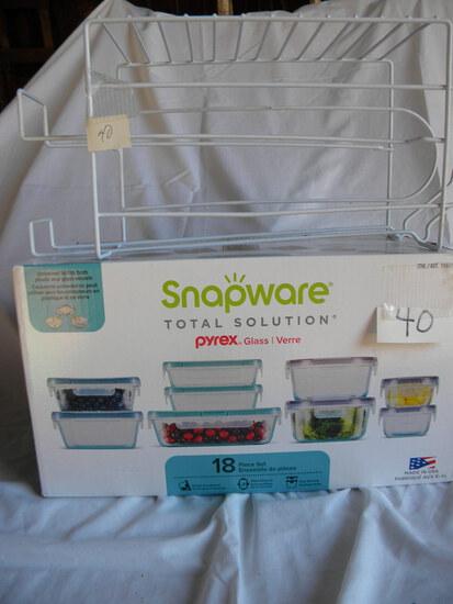 Glassware=pyrex 18 Pcs. W/covers; Refrig. Pop Rack. New Items.