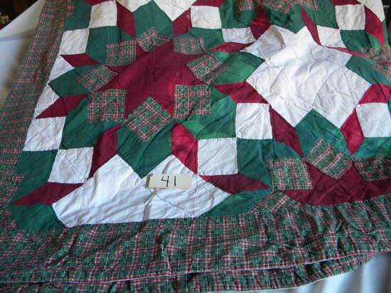 """Pair Of Quilts= Star Pattern 96 X 88"""", Commercial Made"""