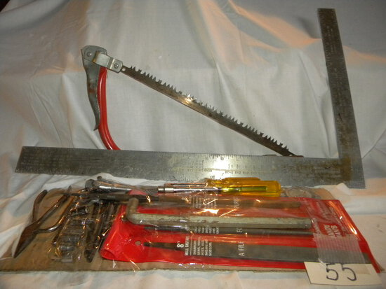"""Carpenter Square; Limb Saw; 1/4"""" Socket Set; And Other Wrenches."""