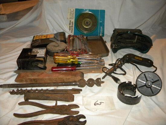 "Crimped Wire Wheel Brush; 1/4 "" Socket Set; Honing Kit; Reamer, Etc."