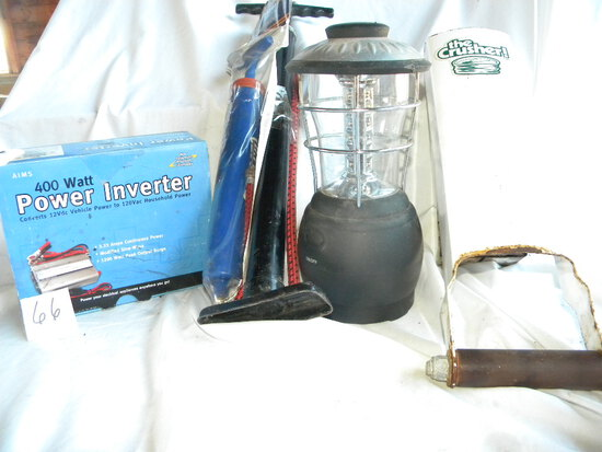 """Power """"aim"""" Inverter; Camping Light; Pair Tire Pumps; Can Crusher"""