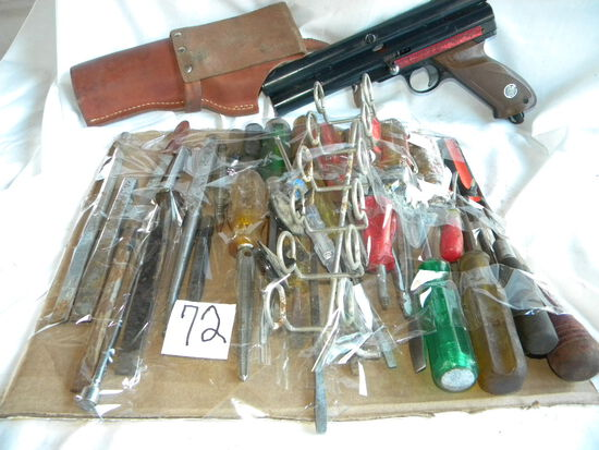 Cattle Paint Pistol And Holster; Misc. Shop Tools.