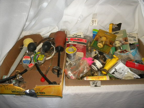 Two Boxes Guarden Hose Connections, Battery Tester; Clamps, And More