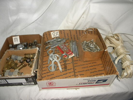 2 Flats Of Concrete Anchor Bolts; Rope/pullies; Copper Fittings.