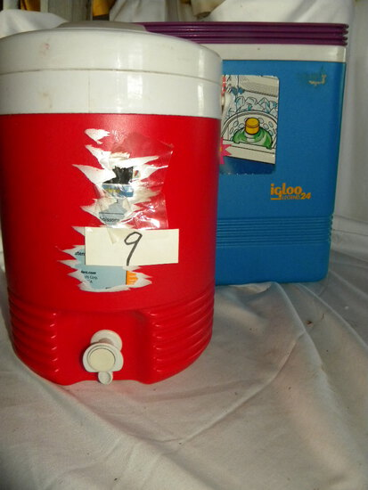 2 Gal Water Cooler; Igaloo Legend 24 Ice Chest.