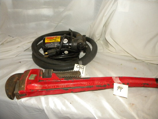 """Simmer Mini Vac Pump (pumps 35 Ft Up; 21"""" Pipe Wrench.\"""