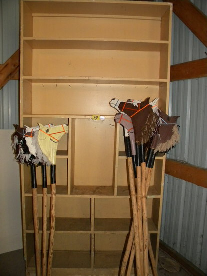 "Wood Shelving Unit, 7' H X 43""w, 11 Compartments; 9 Hobby Horses."