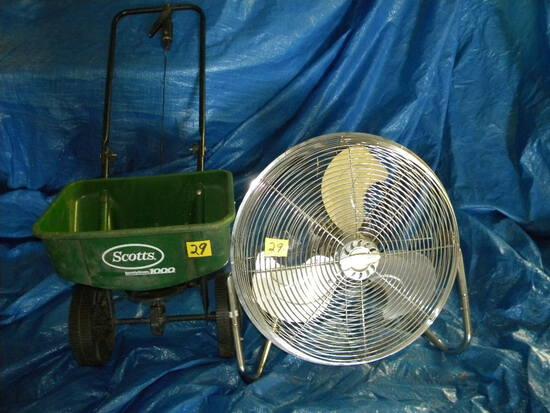 "Lawn Spreader W/ Adjustments; 18"" Floor Fan."