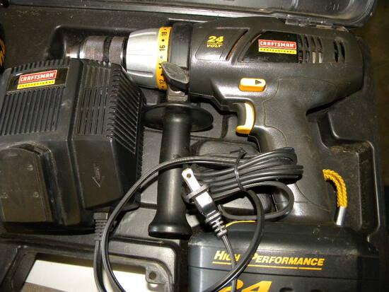 Craftsman, 24 Volt Cordless Hammer Drill, W/charger, Batteries, Case-works