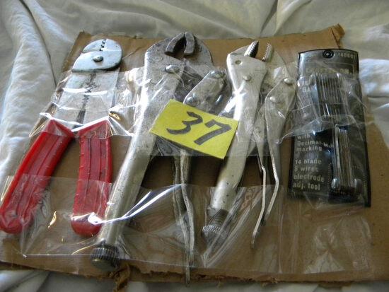Craftsman Gauges Decima Metric; Electrical Wire Pliers; Pair Of Vice Grips.