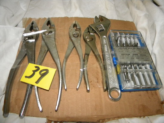 Precision Screw Driver Set; Crescent Wrench; (4) Pair Of Pliers.
