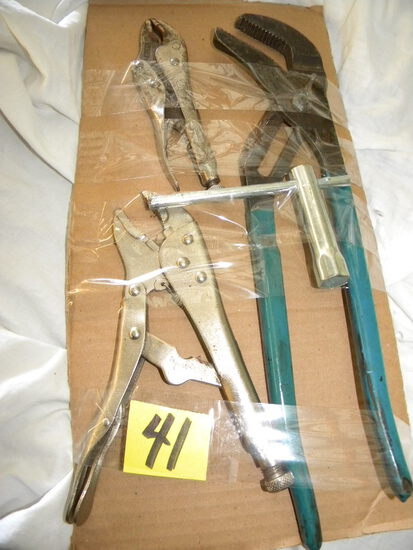 """14"""" Adjustable Lock Pliers; Pair Of Vice Grips; Spark Plug Wrench."""