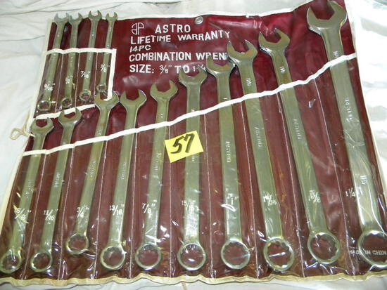 """Combination Wrench Set 3/8"""" To 1/4"""", New, 14 Pieces."""