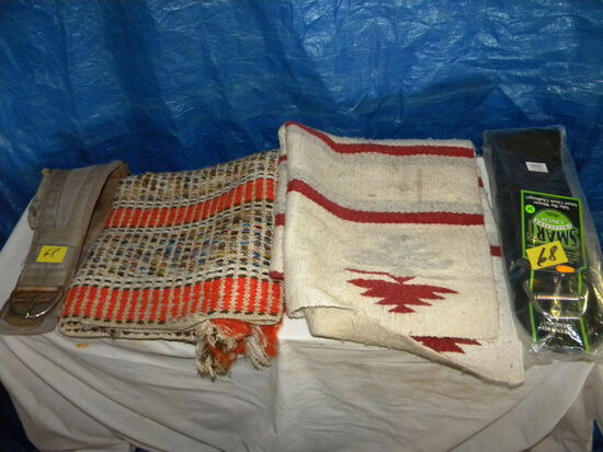 """Pair Of Horse Blankets, (1 New/1 Used); Pair Of 34"""" Cinch."""