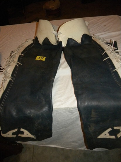 White - Blue Leather Chaps.